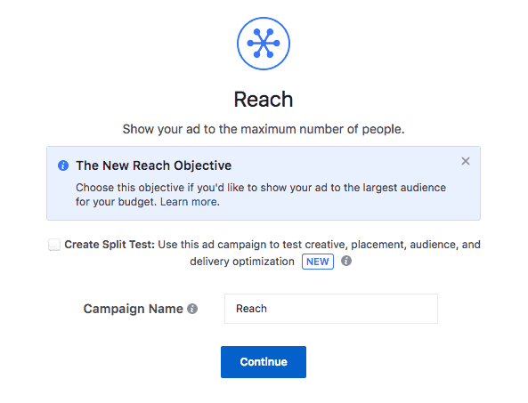 Reach Facebook Ad Campaign Objective