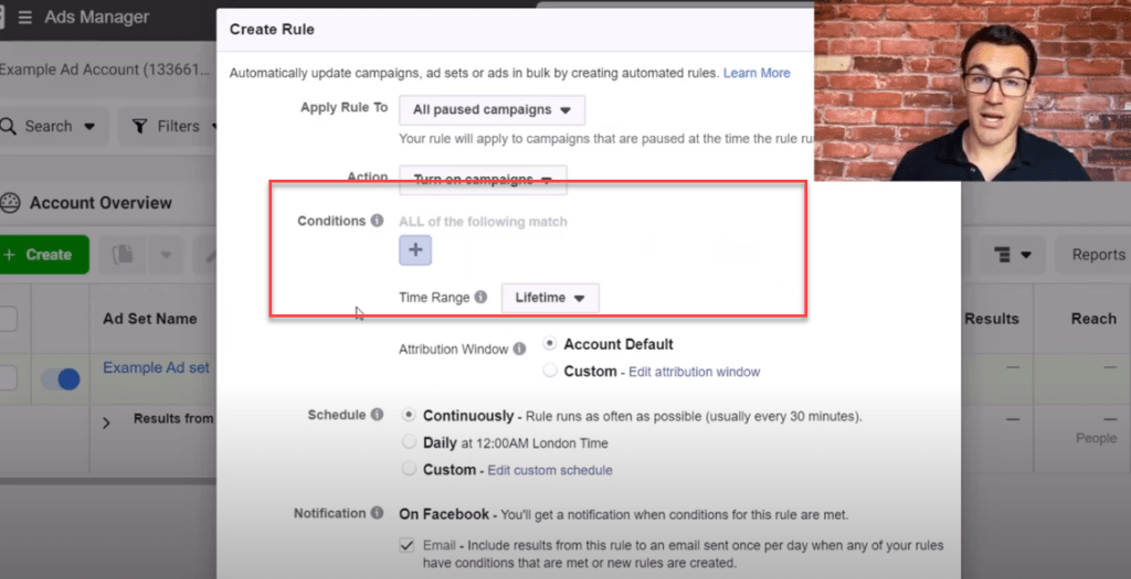 Turning off conditions on Facebook ad rules