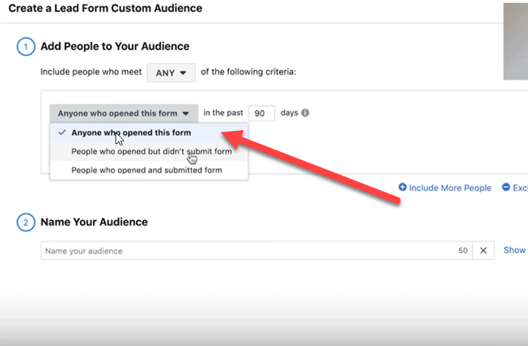 create a lead form custom audience