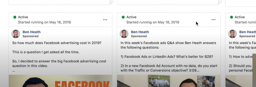 Facebook ad library ad examples