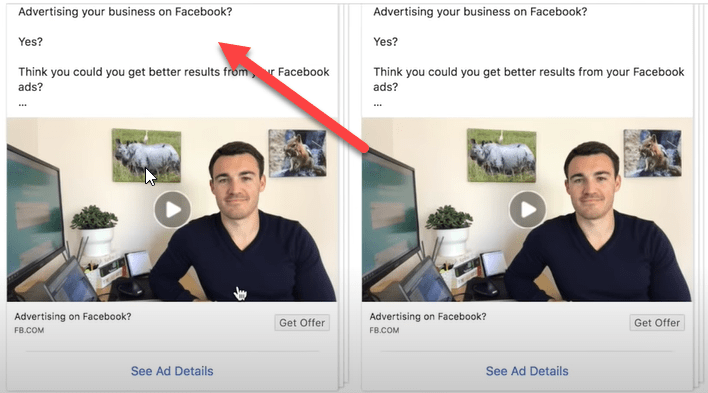 Copy on an ad in the Facebook ad library
