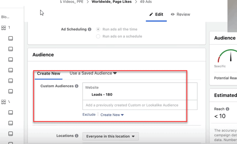 add a custom audience to a facebook ad campaign