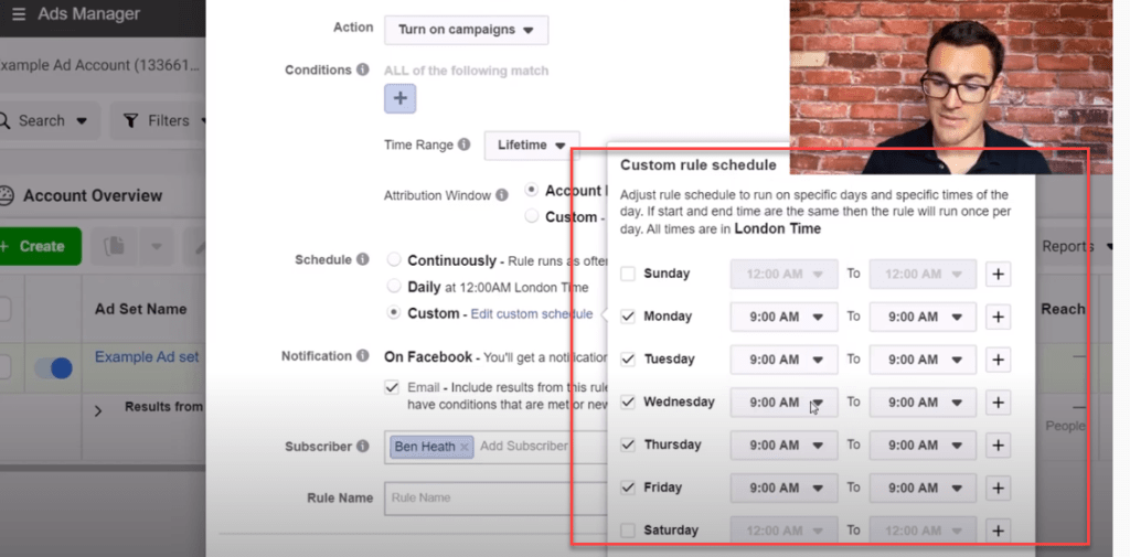 Setting up turn on times using Facebook ad rules