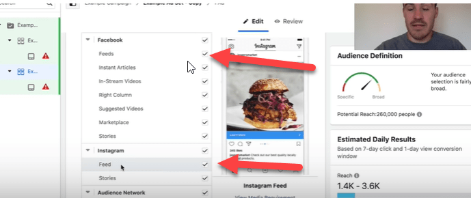 facebook feeds placement and instagram feed placement