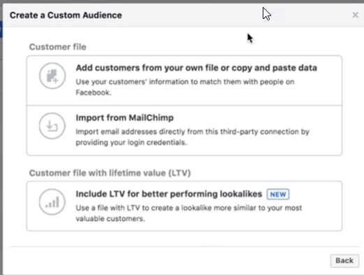 custom facebook audience from an email list or customer file