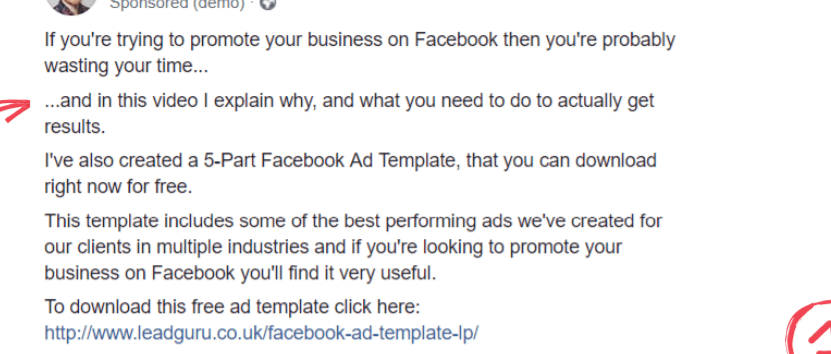 Facebook ad copy for online services