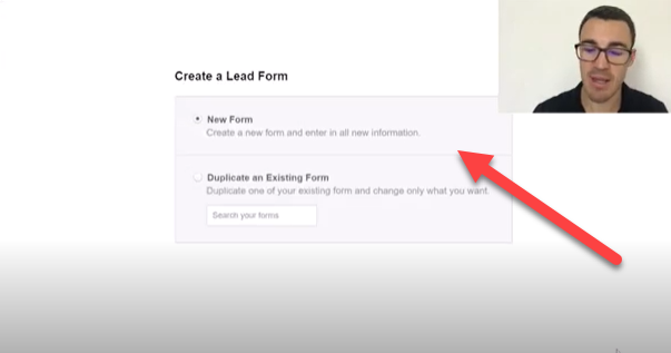 Create new Facebook lead form