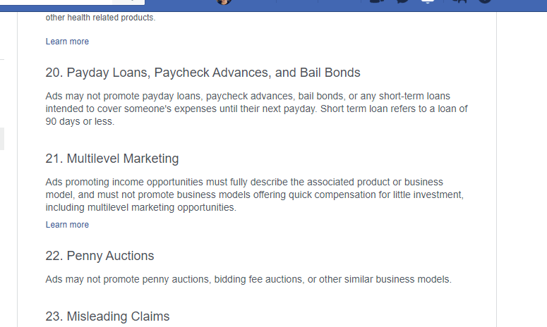 facebook ad policies - payday loans, multilevel marketing, penny auctions