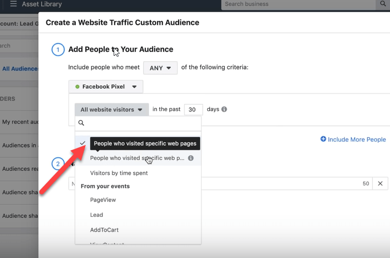 people who visited specific web pages custom audience