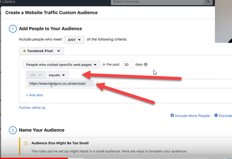 create a website traffic custom audience