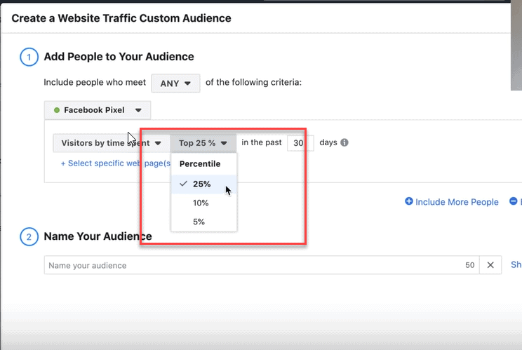 top 25% website visitors facebook custom audience