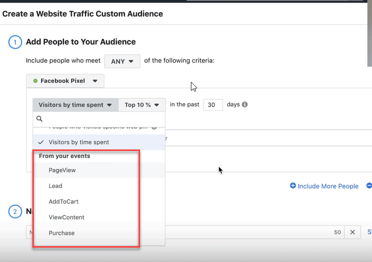 Events custom audiences on facebook
