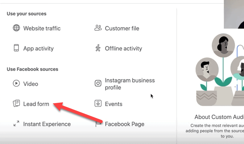 lead form facebook custom audience