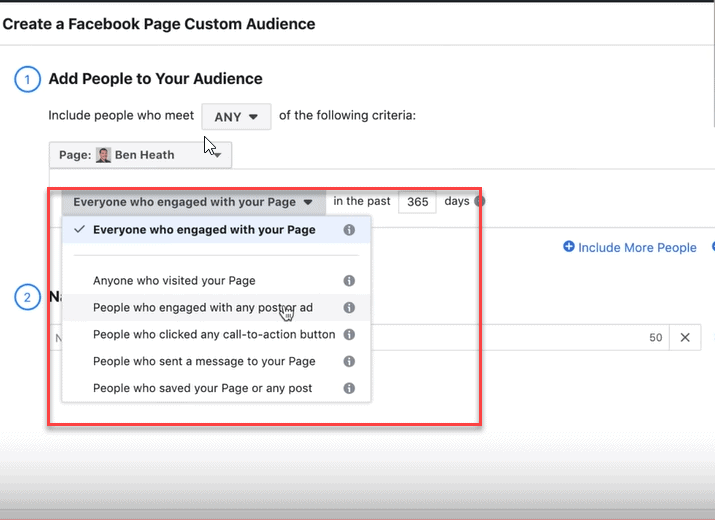 create a facebook page custom audience
