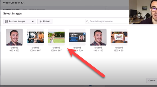 selecting your image on Facebook slideshow ads