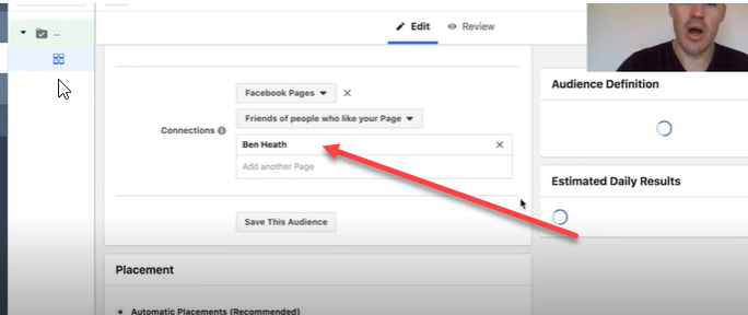 selecting your page in the Facebook interest targeting tool