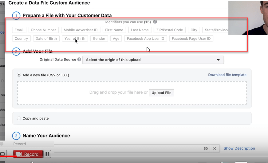 prepare a file with your customer data facebook