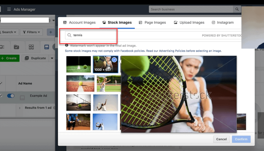 tennis images for facebook ads