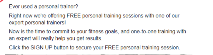 Facebook ad copy for personal trainer