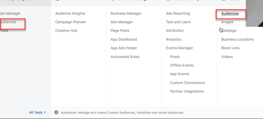audience section in facebook ads manager