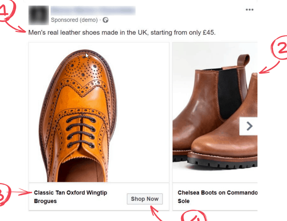 Facebook ad for ecommerce