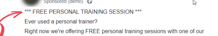 Facebook ad copy for personal training session