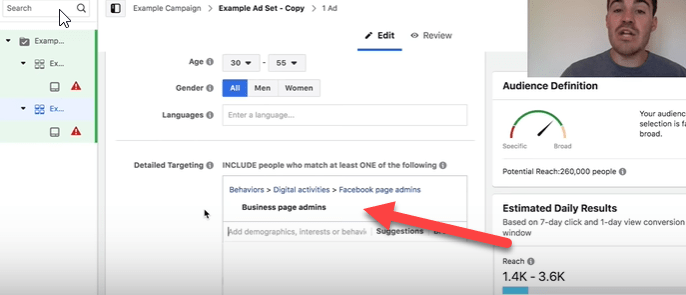 facebook business page admins targeting option