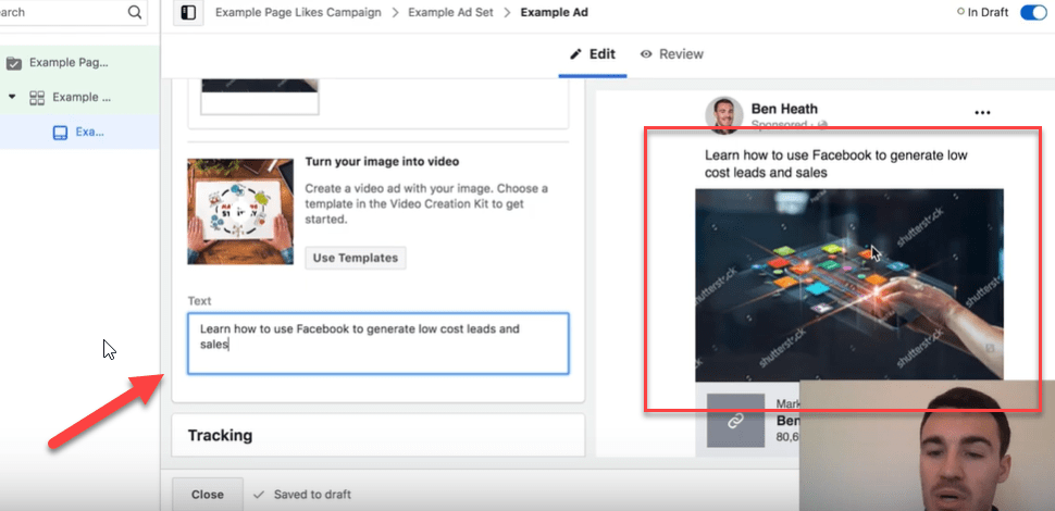 Facebook page like ad copy
