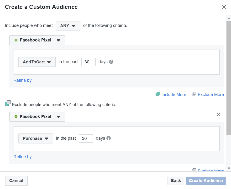 Add to cart custom audience excluding purchases