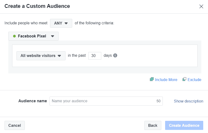 create all website visitors custom audience