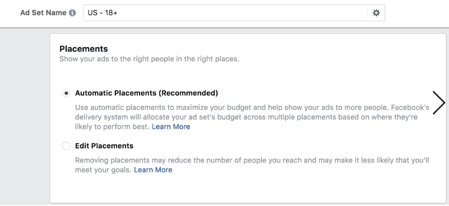 automatic facebook ad placements