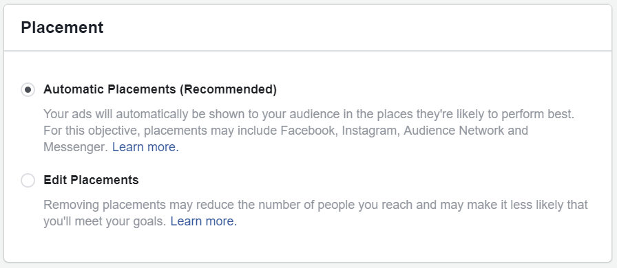 Facebook recommend automatic placements