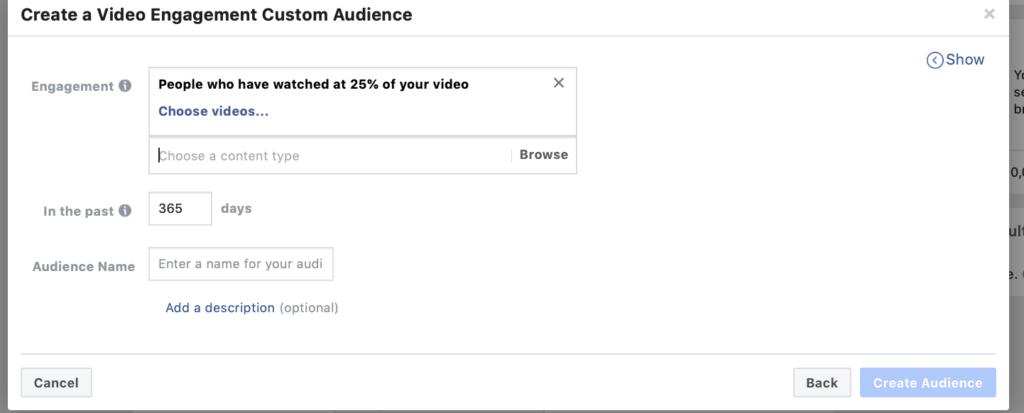 Create A Video Engagement Custom Audience