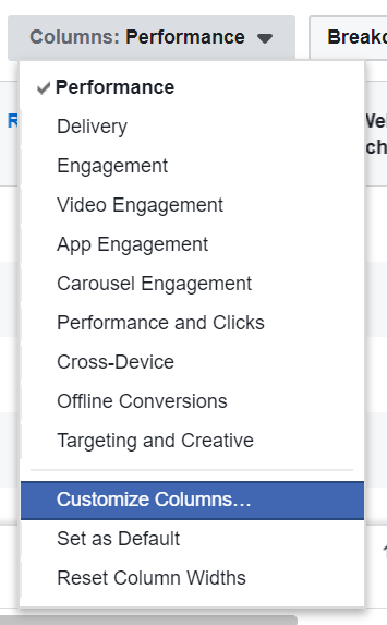 Customize Facebook reporting columns