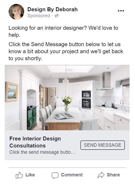 Interior Designer Facebook advertising kitchen 2