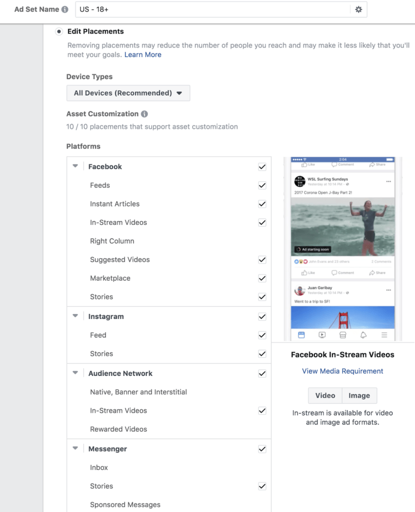 Edit facebook ad placements