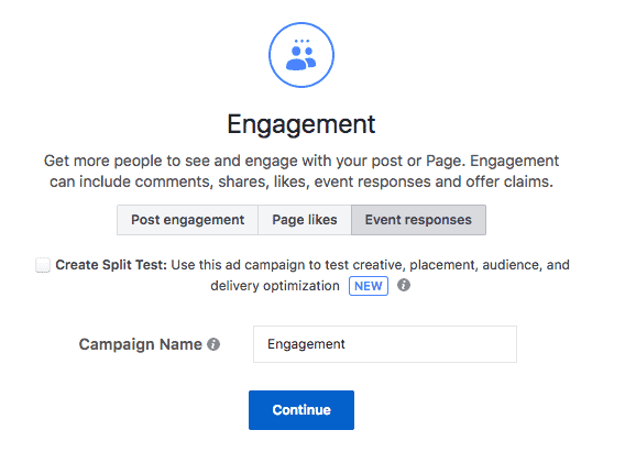 Event Responses Facebook ad objective