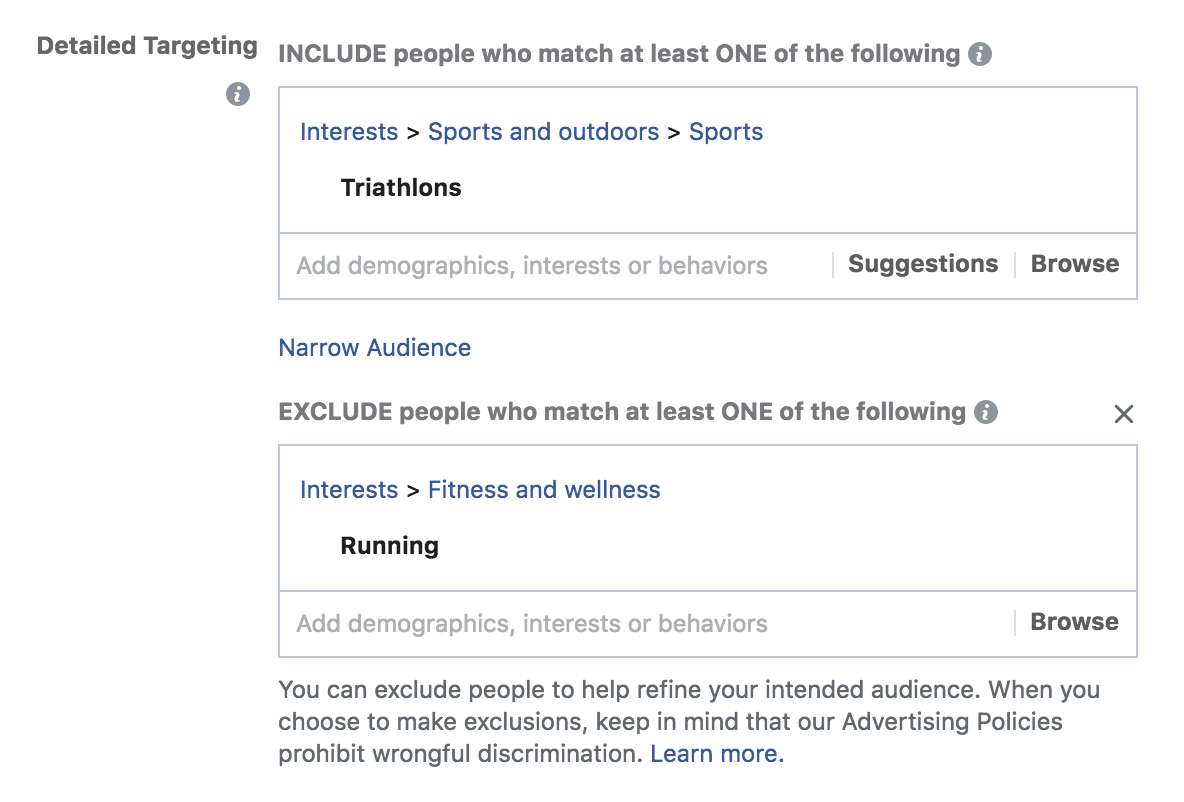 exclude targeting options