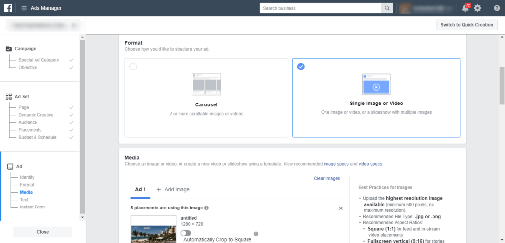Facebook Ad Interface