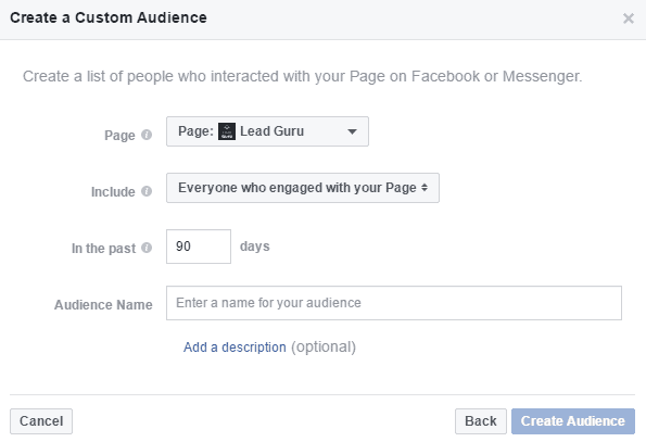 Facebook Page Custom Audience In The Past Options