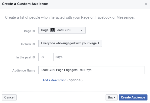 Facebook Page Custom Audience Name