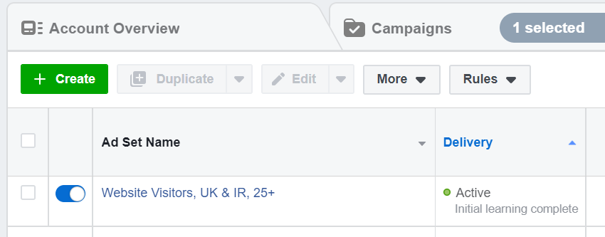 Facebook ads initial learning complete