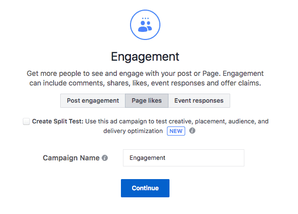Page Likes Facebook ad objectives