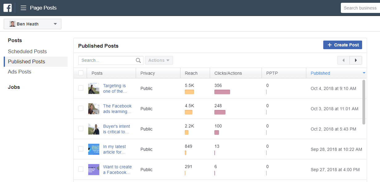 Page Posts Ads Manager