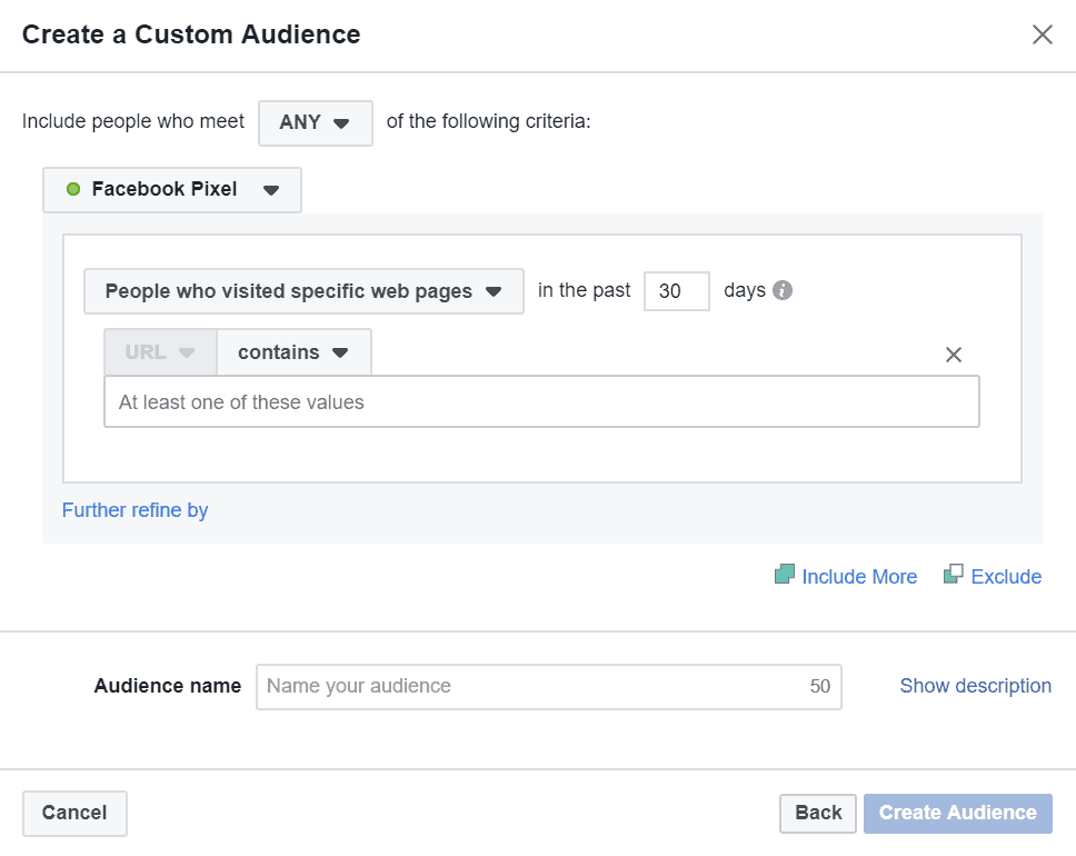 people who have visited specific pages custom audience