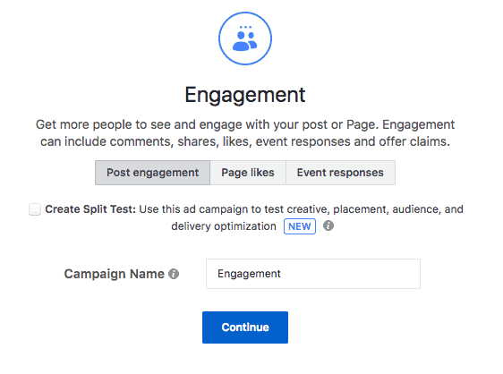 Post Engagement Facebook ad objective