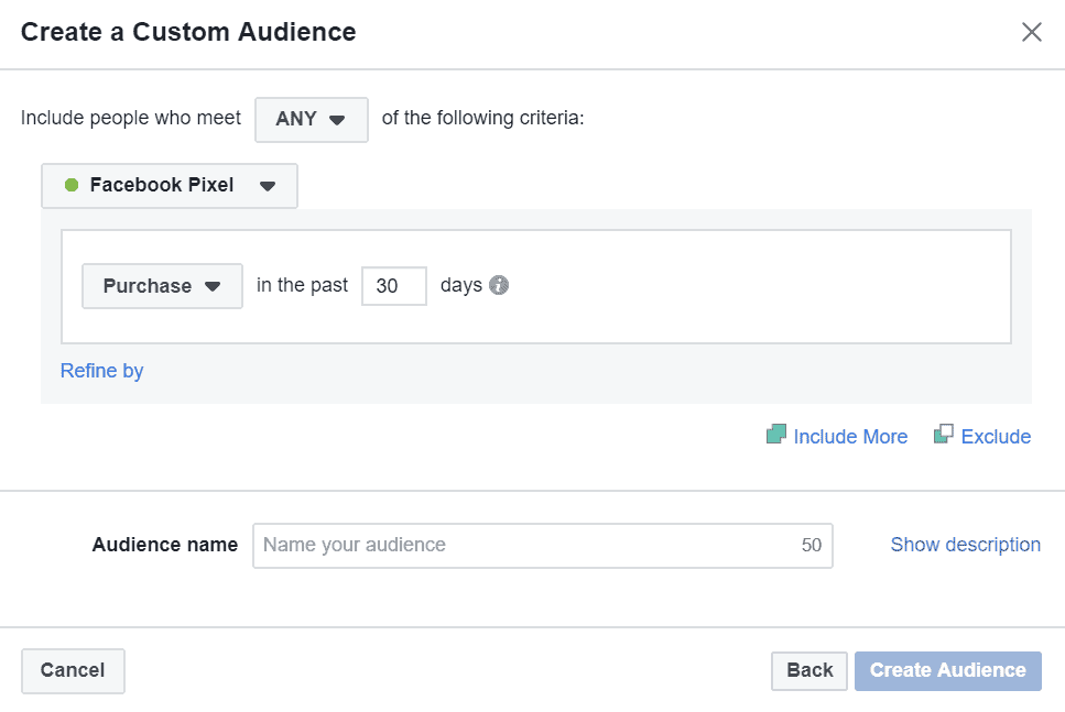 Purchases website custom audience