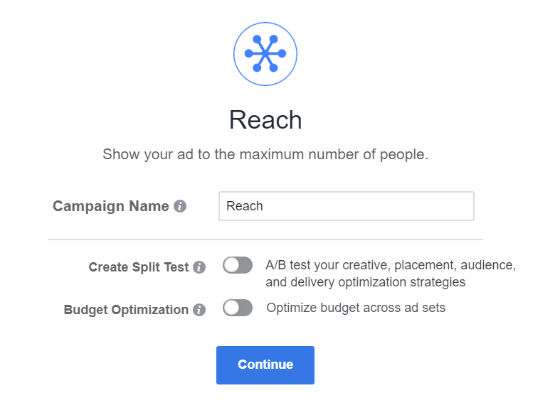 Reach Facebook campaign objective