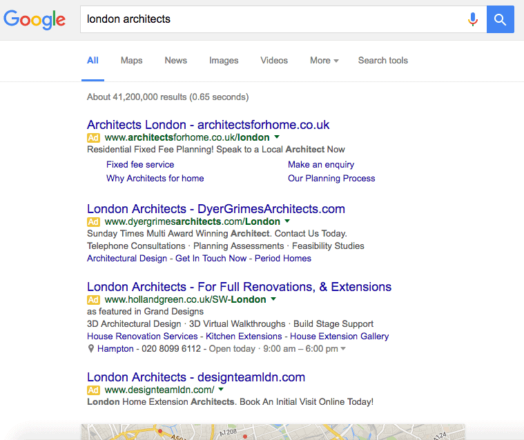 London Architect Google Search Results Page