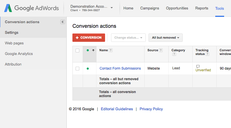 Google AdWords conversions